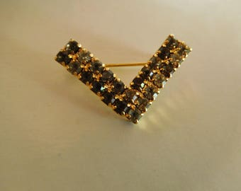 Vintage V Shaped Gold Tone Pin with Clear and Shades of Grey Stones Genuine Austrian Crystals