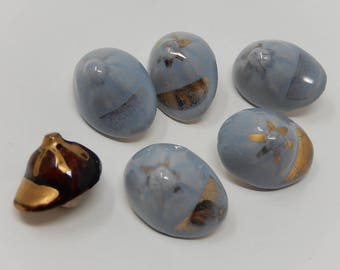 Six old Ceramic Button Shaped Cap Size: 2.5cm x 1.5cm, Free Shipping!
