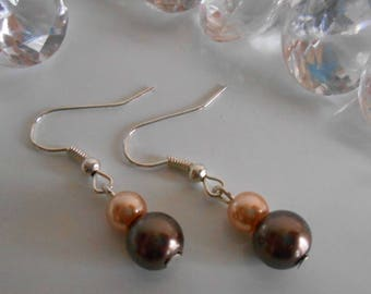 Simple Brown and cream wedding earrings