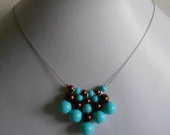 Wedding necklace genuine Brown and turquoise beads