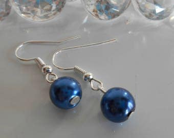 Wedding earrings dark blue beads