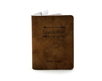 Customize Wanderlust - Light Brown - Personalized Passport Cover/Holder - Travel Passport Cover - High Quality Handmade Leather | TG-PAS-004