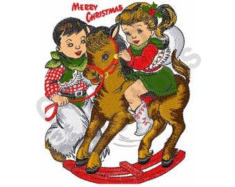 Christmas Cowboy And Cowgirl - Machine Embroidery Design
