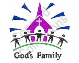Church - Machine Embroidery Design, God's Family - Machine Embroidery Design