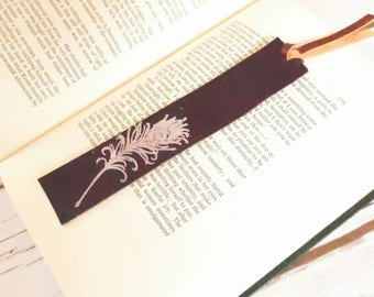 leather bookmark, stamped bookmark, feather bookmark,  gift for reader, 3rd anniversary, notebook accessories, stamped leather, bookmark