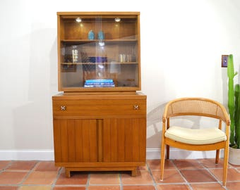 Mid Century Petite China Cabinet or Breakfront