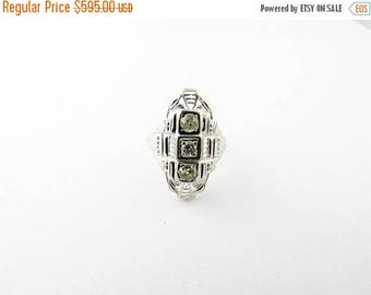 Christmas in July Sale Vintage Filagree Diamond Art Deco 18K White Gold Ring size 6 #00029