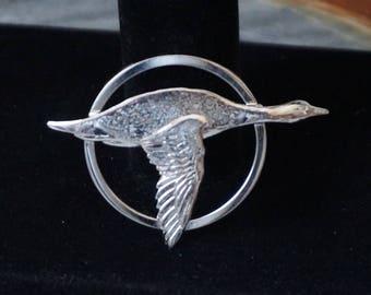 Vintage Forstner sterling brooch, Flying Goose