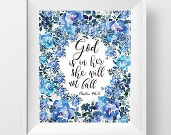 High Quality Bible Verse Wall Art, Calligraphy Art Printable,Floral Art,God Is In Her Part 29
