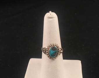 Native American Navajo Turquoise and Sterling Silver Ring Size 7