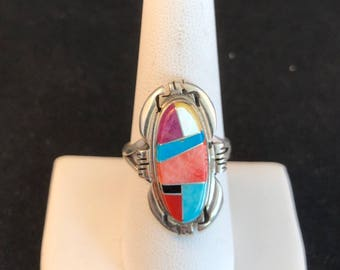 Native American Navajo Multi Stone and Sterling Silver Inlay Ring Size 9