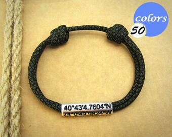 Coordinate Bracelet. Mens Bracelet. GPS Bracelet, Personalized Couples Bracelet. Anniversary gift for boyfriend. Boyfriend Gift