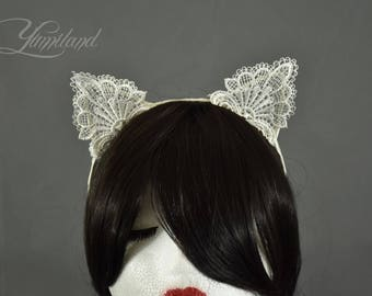 White lace kitty ears on a headband | cosplay cat ears | lolita ears | anime ears