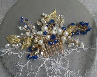 Blue crystal hair comb bridal Blue bridal headpiece Blue hair comb Bridal comb Blue wedding hairpiece Blue wedding comb Blue hair accessory