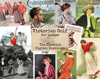 Victorian Golf - Digital Ephemera Classics, Digital Images, Vintage Art, Instant Download, Digital Paper, Digital Collage