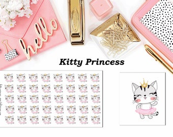 Kitty Princess//Planner Character Stickers//EC//HP