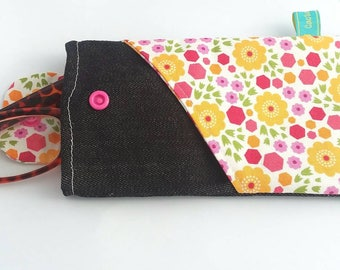 Spring flowers Glasses Case Sunglass Case Cell Phone Sleeve padded oversize large angled pocket black jean pink with yellow interior iphone