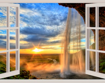 3D Window Waterfall Wall Decal Canyon Sunset Sticker Home Decor Living Room Bedroom Dorm Mural