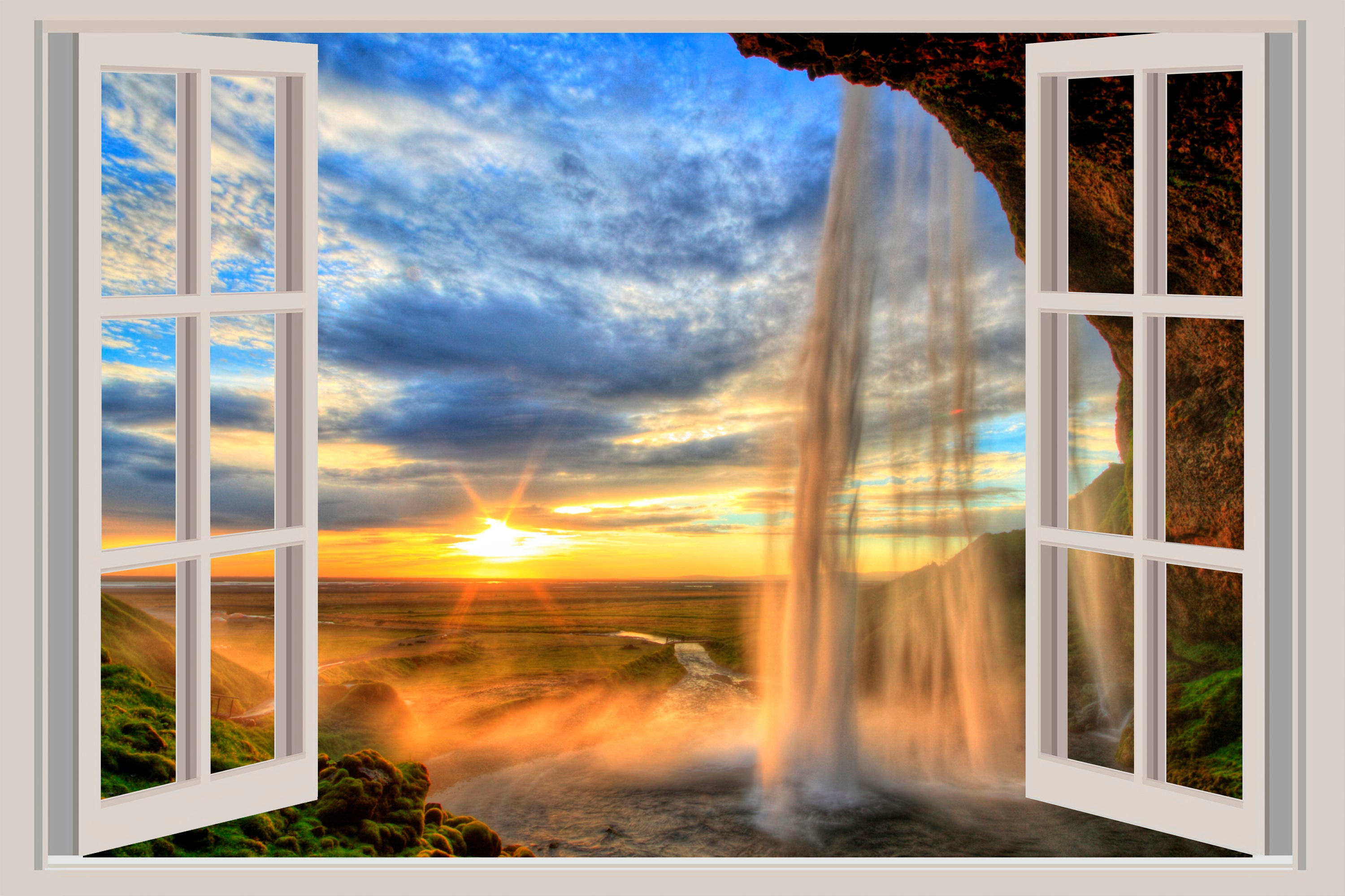 3d window waterfall wall decal canyon sunset sticker home zoom amipublicfo Choice Image
