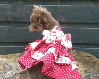 Dog Harness - Chihuahua Clothes - Chihuahua Dress - Dog Dress - Small Dog Clothes - Harness Coat - Chihuahua - Dog Outfit - Floral Dog Dress