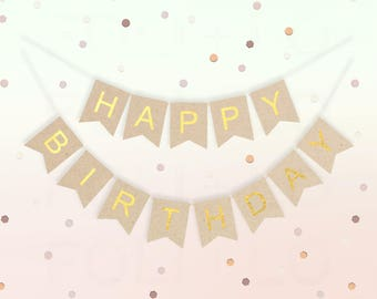KRAFT and GOLD Birthday Banner   Whimsical Birthday Party Decoration   Gold Birthday Decoration   Any-Age Birthday Banner   Gold