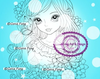 Digital Stamp, Digi Stamp, digistamp, Delilah by Conie Fong, Coloring Page, birthday, girl, flower, butterfly, dahlia