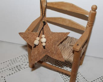 Star Christmas Cork 12 cm and its wooden beads