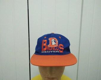 Rare Vintage DENVER BRONCOS Big Logo Embroidered Spell Out Cap Hat Free size fit all