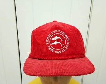 Rare Vintage Hotel Twin Dolphin Cabo San Lucas Corduroy Cap Hat One Size Fit All Made In USA