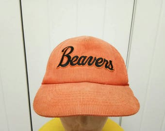 Rare Vintage OREGON STATE BEAVERS Corduroy Cap Hat Free Size Fit All