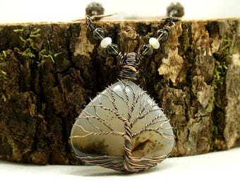 Tree of life necklace Agate, copper and brass