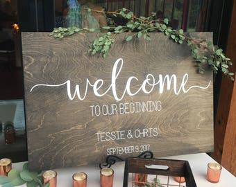 Welcome To Our Beginning Wedding Sign, Welcome Wood Sign, Wood Welcome Wedding Sign, Wedding Sign, Wood Wedding Sign, Custom Wedding Signage