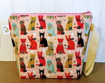 Cat Knitting Project Bag, Knitting Project Bag,Sock Knitting Bag, Knitting Project Bag Zipper, Yarn Bowl, Yarn Tote Bag, Crochet Project Bag