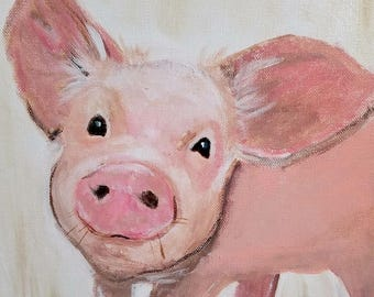 Framed Pig Art - Acrylic Painting - Clearance