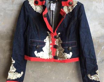 Vintage Roberto Just Cavalli Denim Metalic Floral Jacket SIZE 44