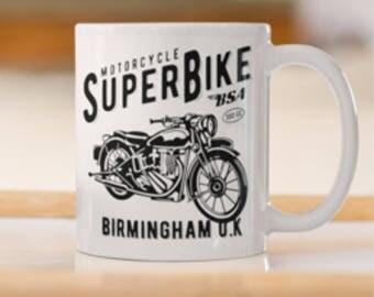Superbike Mug,Birmingham Bsa Coffee Mug, BSA Vintage Motorbike Mug,BSA Classic Motorbike Mug, Vintage Motorbike Mug,Vintage BSA print .
