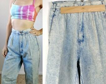 Vintage 80s Retro Acid Wash Wrangler Mom Jeans// Womens Vintage Denim Size Medium High Waisted Jeans 1980s Fashion
