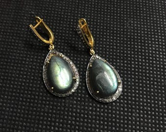 Labradorite Earrings,Labradorite Victorian Earrings,Labradorite and Diamond Earrings,Labradorite Teardrop Earrings,  Labradorite Cabochon