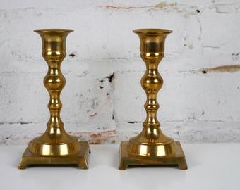 Brass Candleholder Pair