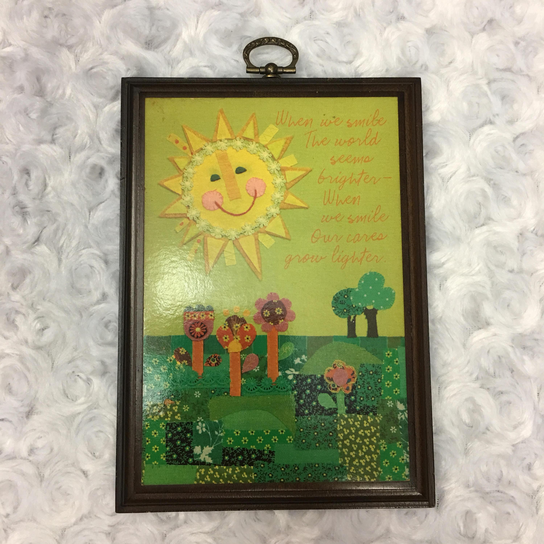 Small Vintage Hallmark Wall Wooden Hanging Plaque Decor w Sun Flower ...