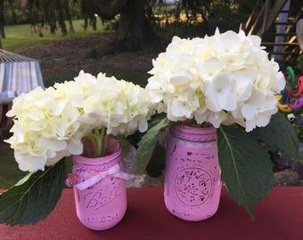 Haind Painted Mason Jars in Pink