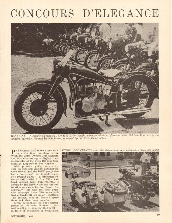 1963 BMW Owners Club 1936 R-12 750cc Motorcycle 1-Page Photo Article #m34