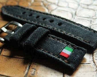 Black canvas strap 130/80  24/24  for Panerai