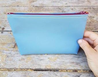 Vinyl zipper bag, cosmetic zipper bag, travel organizer, blue zipper pouch