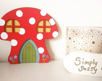 Fairy door, bright red toadstool fairy door,  forest, Imagination play, toadstool