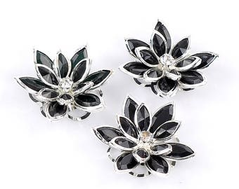 Connector or black silver plated, rhinestone and PVC Lily Applique