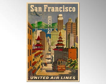 Chinatown, San Francisco, California, Postcard - United Airlines Art - Vintage Travel Poster