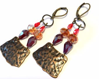 Chandelier Earrings fire opal colors with antiqued brass and copper