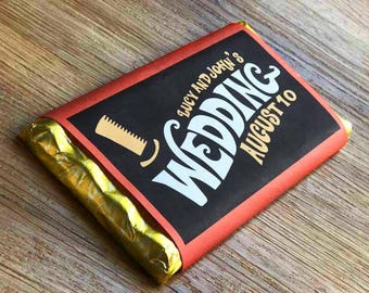 Wonka Bar Style Wedding Invitation Wrappers | Chocolate Bar Wrapper For Sweet Weddings | Wedding Save The Dates