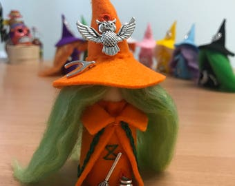 Lucky Witch with cauldron, broom, owl and a wishbone